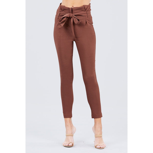 High Waisted Front Tie Stretch Pants