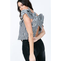 Frill Layered Open Back Striped Top