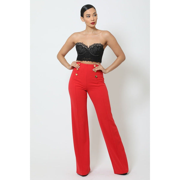 High Waisted Crepe Pants w/Buttons