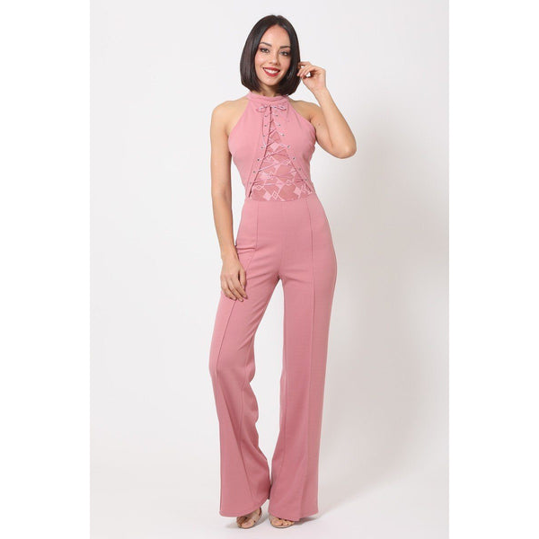 Halter Neck Jumpsuit w/Criss Cross Front Tie Design