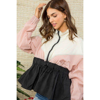 High Neck Bottom Ruffle Color Block Windbreaker