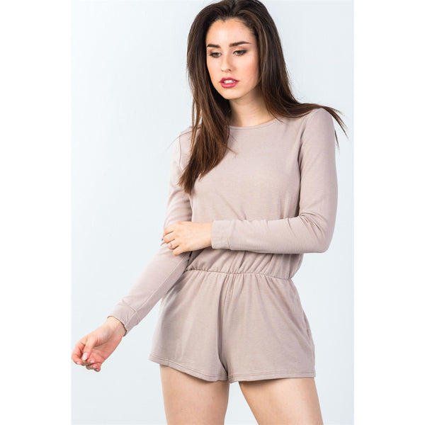 Comfy Tie Back Long Sleeve Romper (Made in the USA)