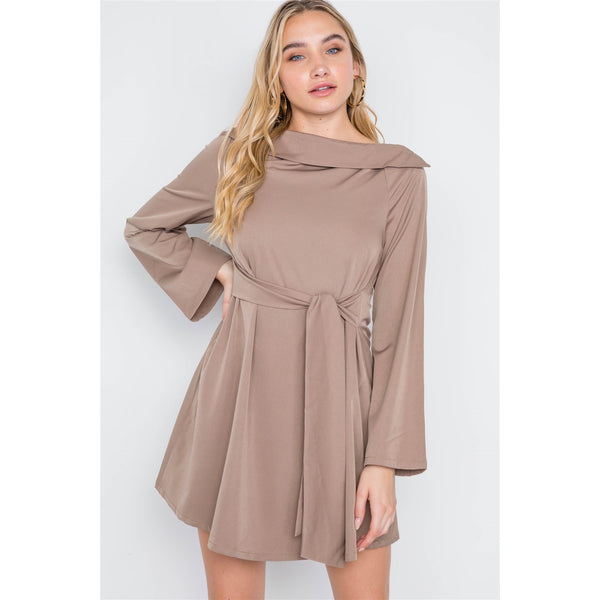 Straight Neck Solid Front Tie Dress