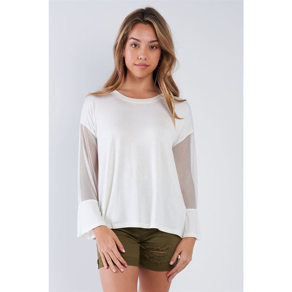 Long Mesh Sleeve Stretchy Top