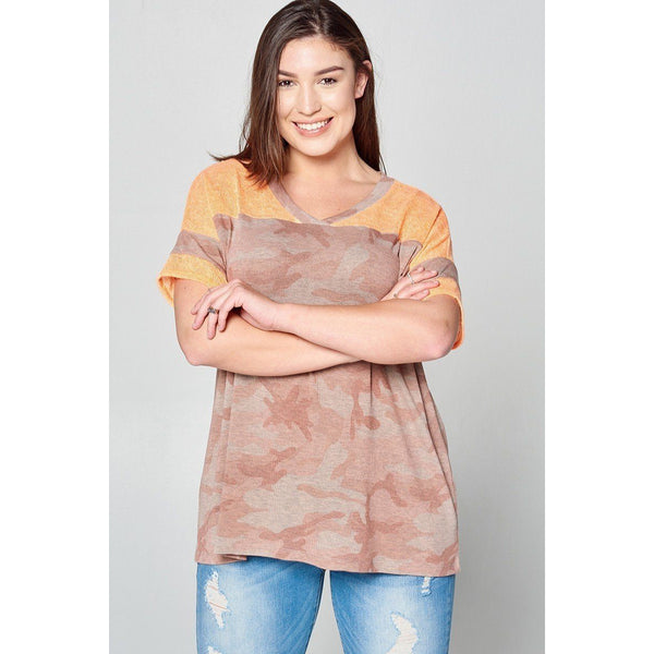Plus Size Camouflage Print Loose Fit Knit Top