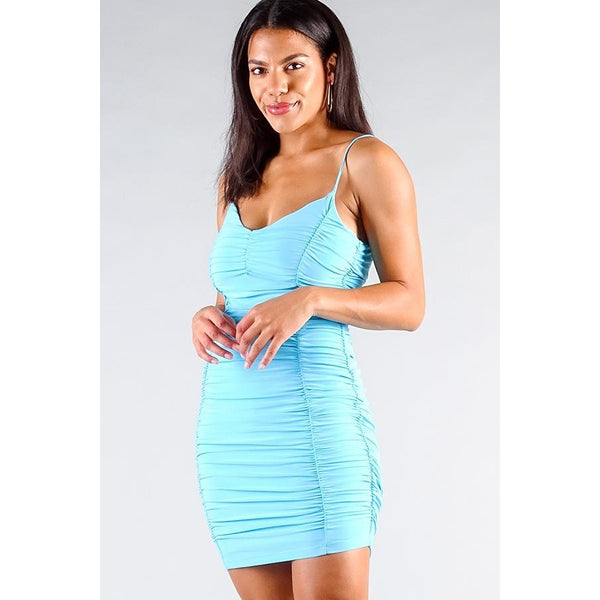 Spaghetti Strap Gathered Front Ruched All Over Mini Dress