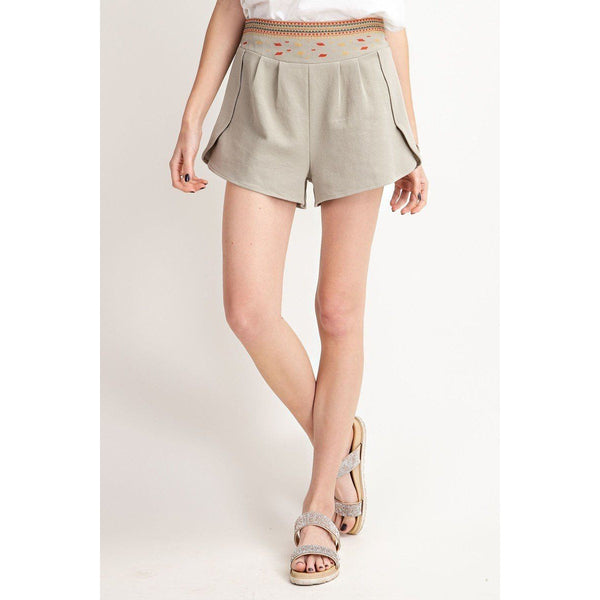 High Rise Elastic Waist Shorts