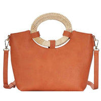 Woven Handle Satchel w/Long Strap - 8 Colors