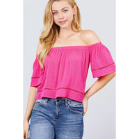Elbow Sleeve Off The Shoulder Lace Trim Top