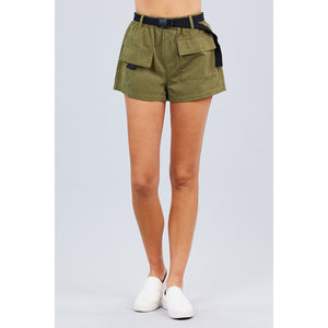 Twill Belted Side Pocket Cargo Shorts