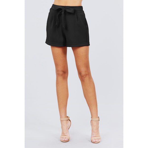 Front Tie Elastic Waistband Shorts