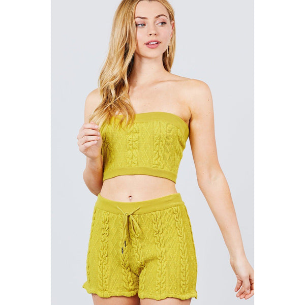 Cable Knit Shorts and Tube Top Set