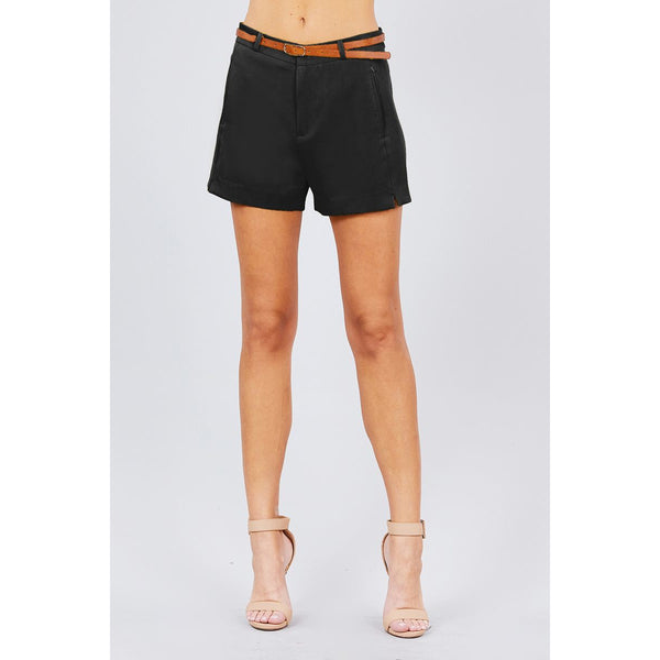 Front Slit Hem Shorts w/Pocket and Belt