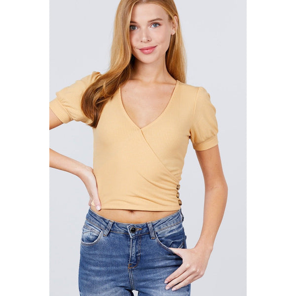 Short Puff Sleeve w/Side Button Ribbed Knit Top