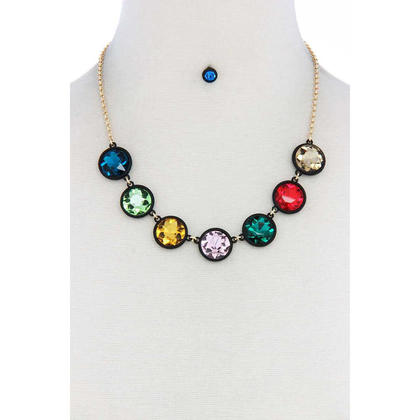 Round Shape Necklace and Earrings Set
