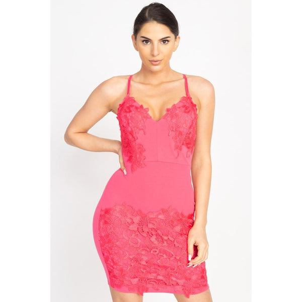 Floral Lace Embroidered Mini Dress