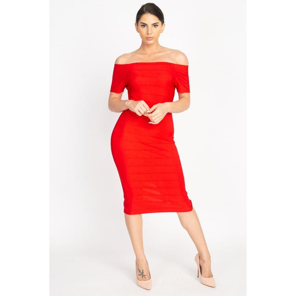 Off The Shoulder Bandage Dress - 4 Different Colors!