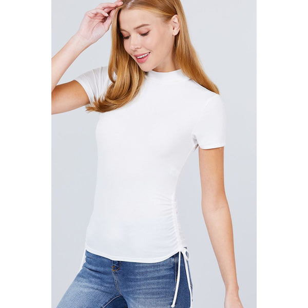 Short Sleeve Mock Neck Side Shirring Rib Knit Top - 5 Colors