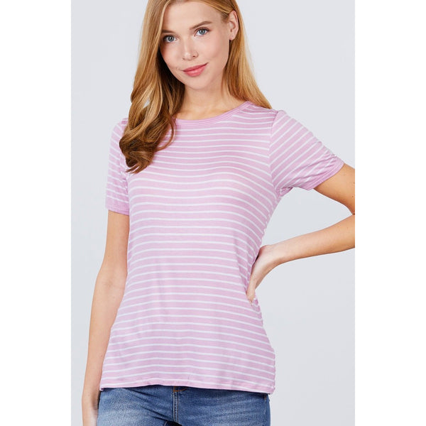 Short Sleeve Striped Ringer Knit Top - 4 Different Color Combos!