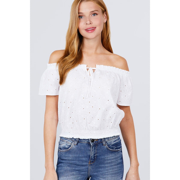 Off the Shoulder Front Tie Eyelet Lace Woven Top