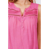 Sleeveless Front Pleats w/Buttons Woven Top