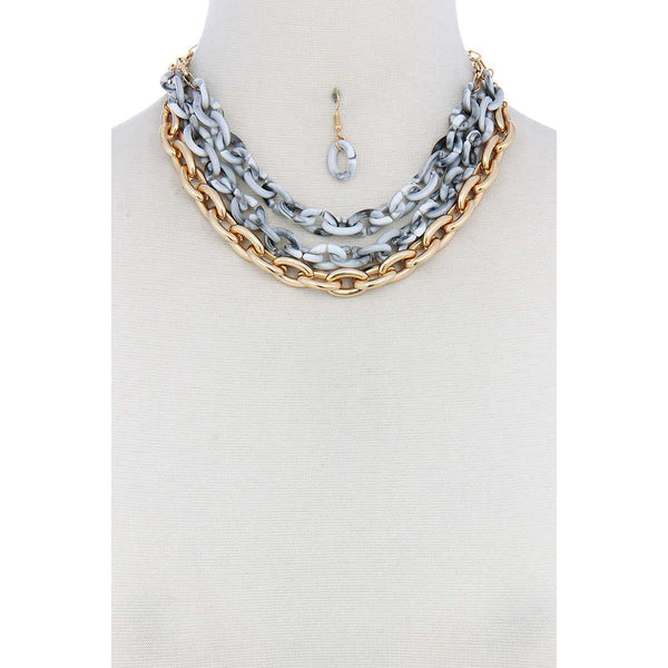 Triple Layer Multi-Color Thick Chain Necklace and Earrings Set
