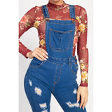 Skinny Distressed Denim Overalls - Sizes S-M