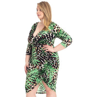 Plus Size Leopard and Tropical Leaf Print Bodycon Dress