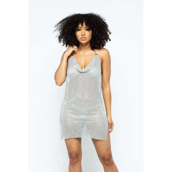 Pure Metal Halter Dress