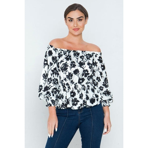 Printed Long Sleeves Off Shoulder Shirt