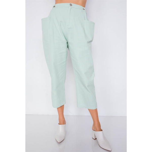 Pastel Chic Wide Leg Adjustable Snap Waist Pants