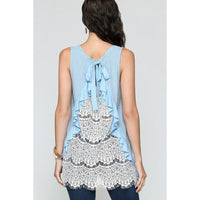 Sleeveless Back Lace Ruffle Detail Tank Top - 5 Different Colors