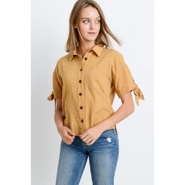 Short Sleeve Button Up Top with Tie Sleeves