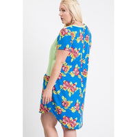 Plus Size Floral Color Block Midi Dress w/Front Pockets
