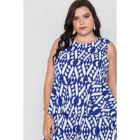 Plus Size Sleeveless Tribal Print Top