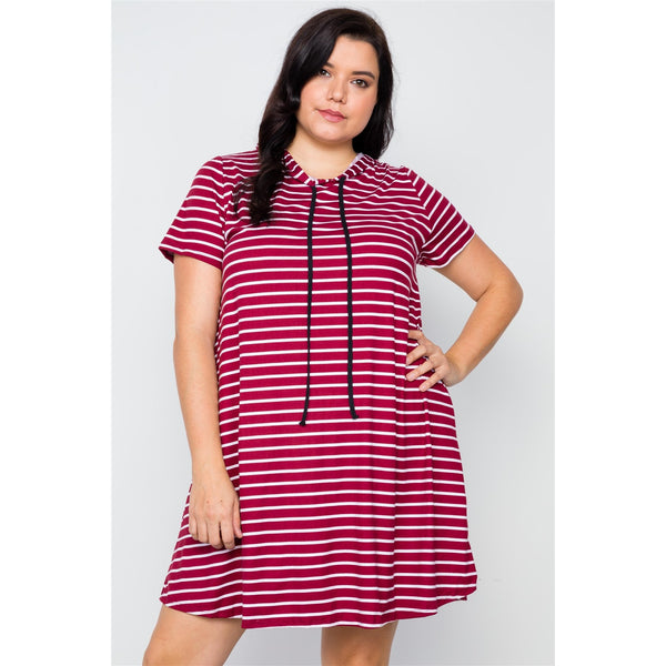 Plus Size Striped Short Sleeve Hooded Shirt Dress