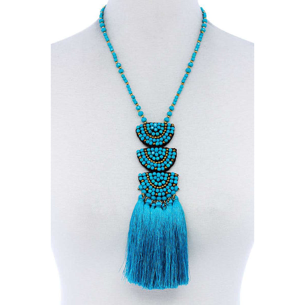 Designer Multi-Tassel Beaded Necklace - 3 Different colors!
