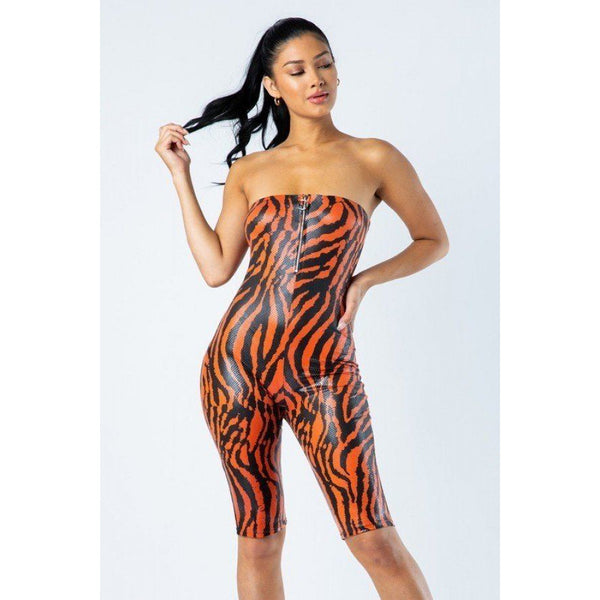 Zebra Print Tube Romper w/O-Ring Zipper Detail