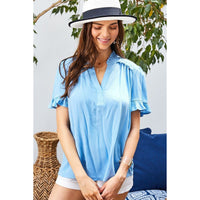 Ruffle Mock Notched Neck Short Sleeve Top