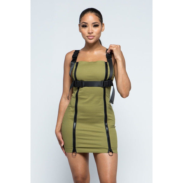 Stretchable Cotton Mini Dress w/Buckles and Zippers