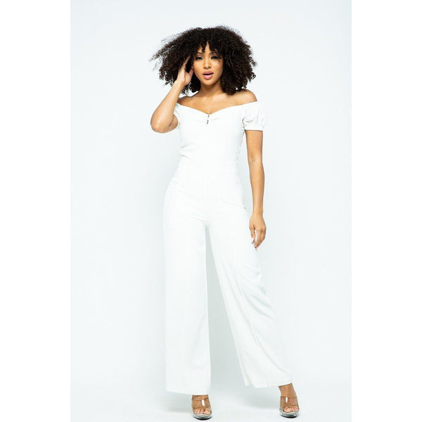 Puff Short Sleeve Jumpsuit w/Metal Detail and Zipper Back