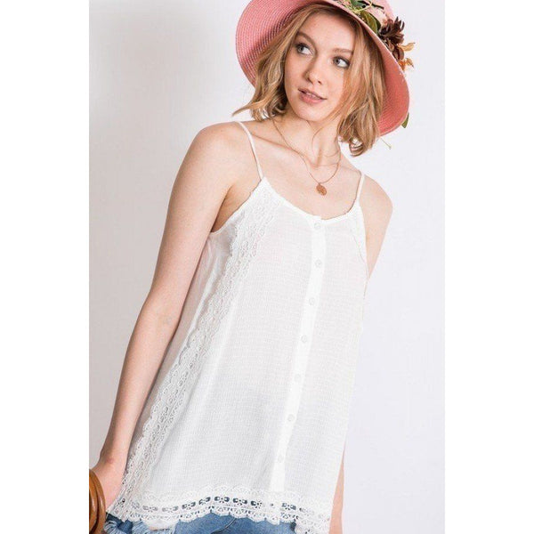 Boho Layered Lace Trim Side Slit Cami Top