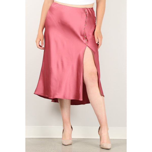 Plus Size Skirt w/High Waist, Button Trim and Side Slit