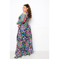 Plus Size Multi-Color Print Chiffon Maxi Dress