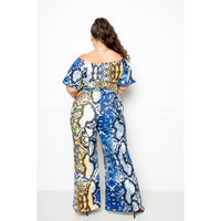 Plus Size Multi-Color Snake Jumpsuit