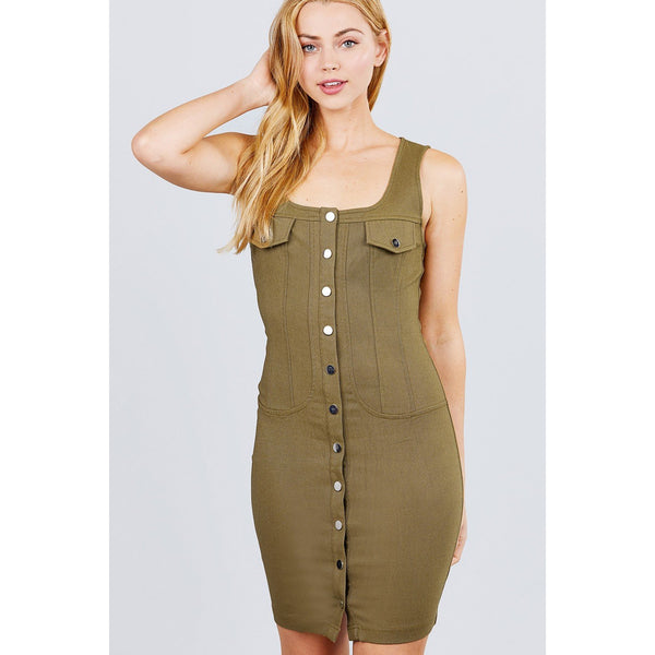 Sleeveless Deep Square Neck Button Down Mini Woven Dress
