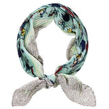 Floral Print Pleated Bandana Scarf