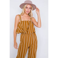 Striped Buckle Shoulder Wide Leg Jumpsuit