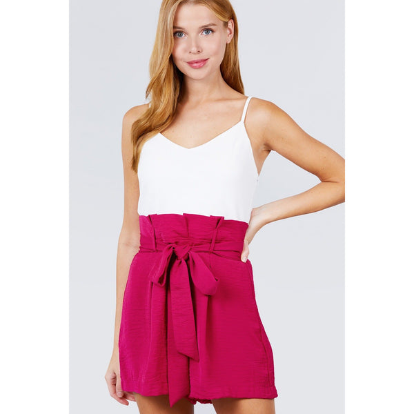 V-Neck Belted Tie High Waist Cami Woven Romper