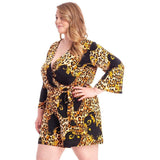 Plus Size Leopard Print Loose Fit Romper